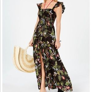 Raviya Printed Ruffled Maxi Dress Cover Up